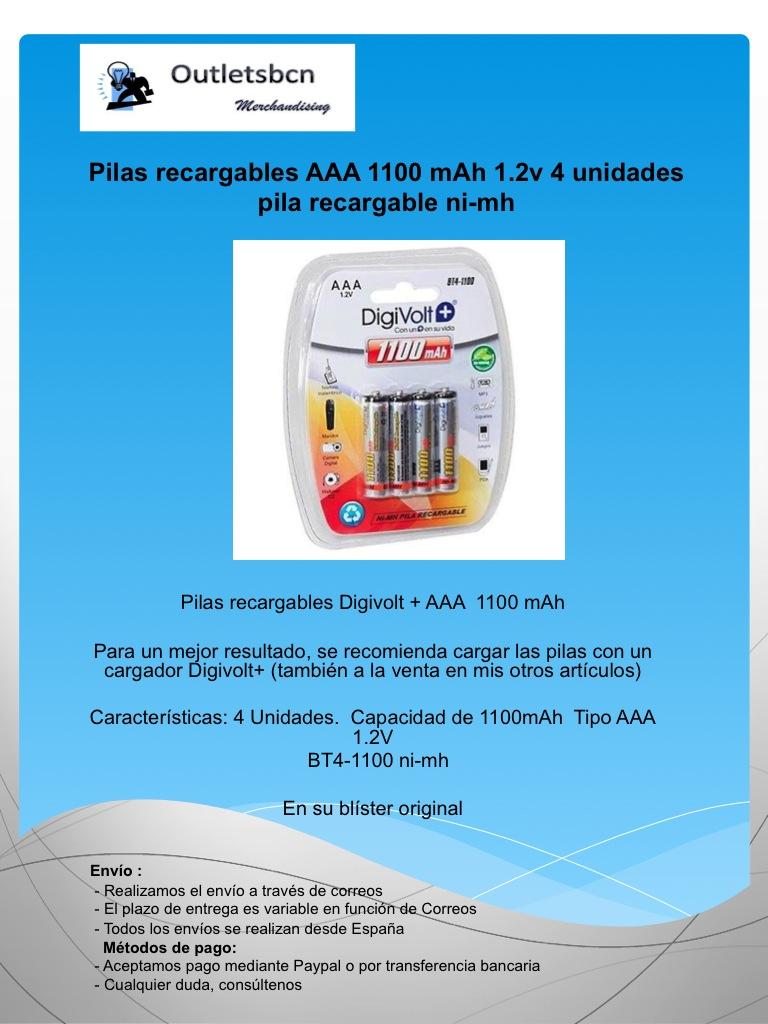 Pilas recargables aaa 1100 mah 4 unidades pila - Pilas recargables aaa ...