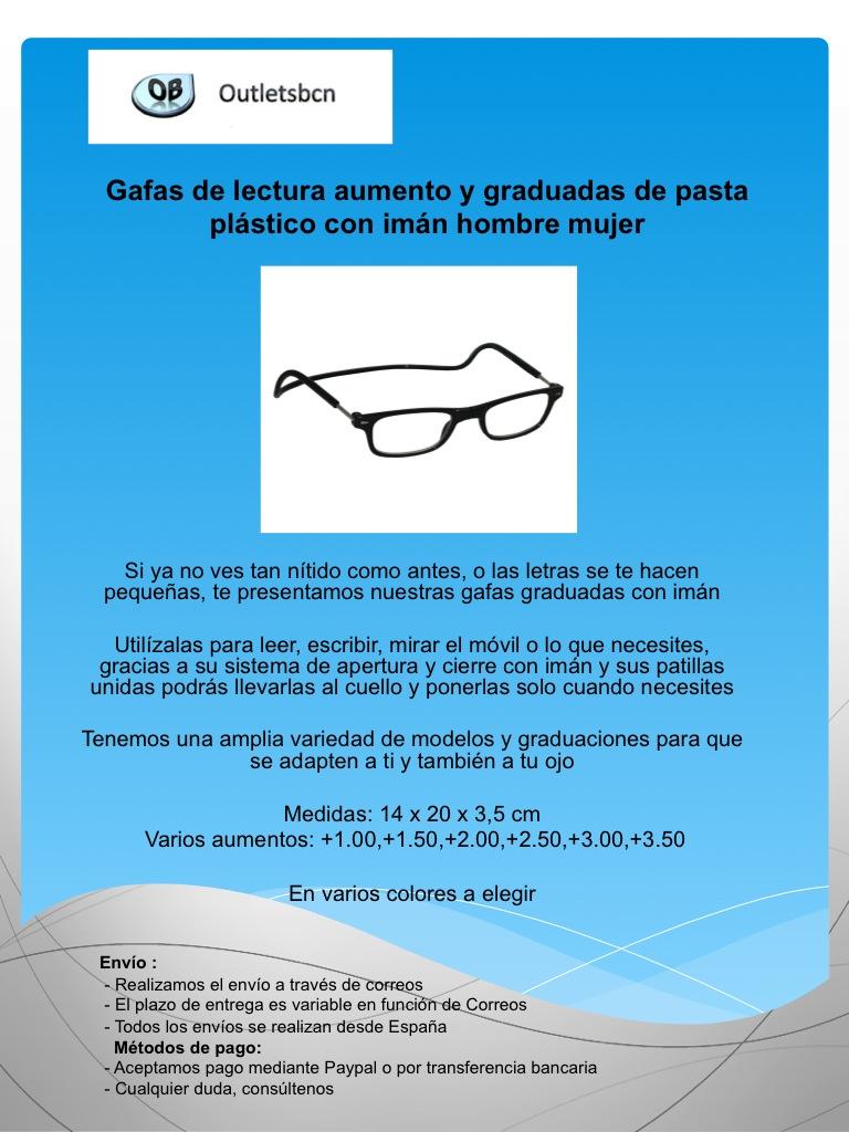 a6d1e925ae Gafas de lectura aumento y graduadas de pasta plastico con iman ...